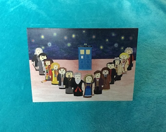 Doctor Who Greetings Card: 14 Doctors Illustration