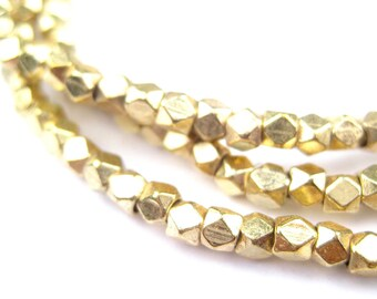 200 Diamond Cut Faceted Gold Color Beads - Gold Faceted Beads - Brass Spacer Beads - Tribal Brass Beads - 3mm Spacer Beads (MET-FCT-GLD-355)