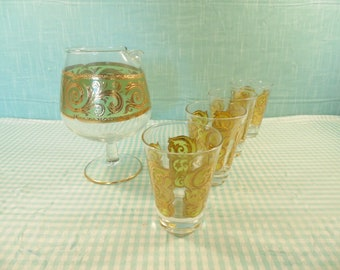 Vintage Culver Decanter With 4 Glasses - Toledo - 4 Ounce Glasses - 22K - 1960s