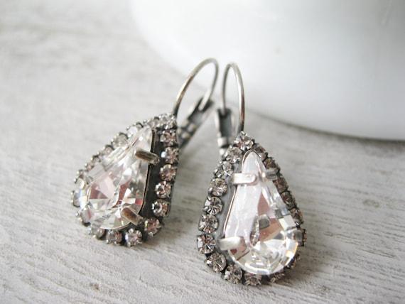 Crystal Halo Teardrop Earrings Rustic Wedding Jewelry Bridesmaid Earrings Vintage Style Antique Silver Swarovski Elements Clear