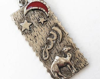 vintage antiqued silver souvenir Morrocan keychain with camel and moon star symbols