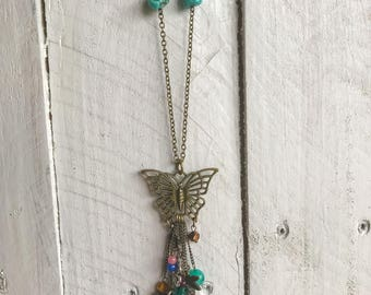 Boho Turquoise Butterfly Charm Necklace, Charm Necklace, Butterfly Necklace, Turquoise Necklace, Beaded Necklace, Boho Necklace,Boho Jewelry