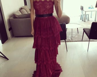 Red valentine lace haute couture dress maxi 2018 trend