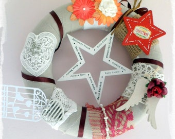 """Christmas Wreath """"all horizons"""", Christmas gift, Christmas decoration, handcrafted. Unique handmade creation."""
