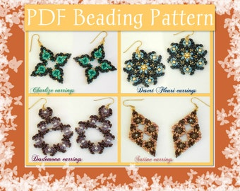 DIY Beading pattern SET earrings 4 models with Superduo beads / PDF tutorial step by step with detailed instructions, images and diagrams
