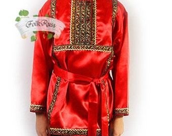 Tradition russian shirt Kosovorotka silk, Cossack shirt, slavic shirt, men scenic folk shirt, folk shirt for boy, russian costume