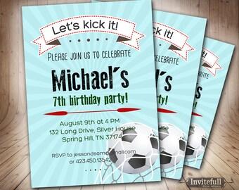 Soccer Birthday Invitation For Boys6th 9th 8th 11th Boy InvitationPrintable Kids Football
