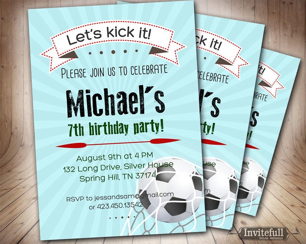 Soccer Birthday Invitation for boys6th 9th 8th 11th Boy