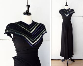 60s designer black formal dress | vintage black dress | 60s evening gown