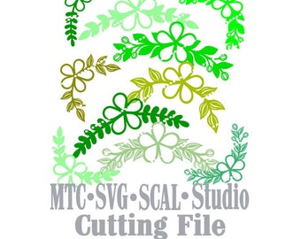 SVG Cut File Flower #01 Bundle of Floral Corners and Dividers Silhouette MTC SCAL File Format