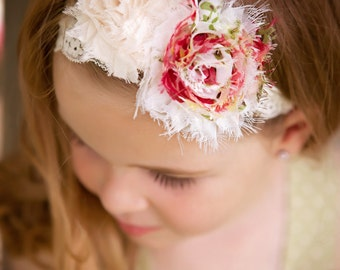 Rambling Rose Vintage Lace Shabby Rosette Headband infant, Babies, toddlers, girls adults