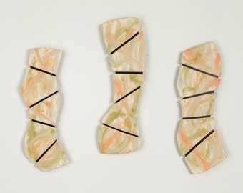 Tile Wall Art Three Panel Wall Hanging Tropical Triptych One of a Kind Wall Sculpture