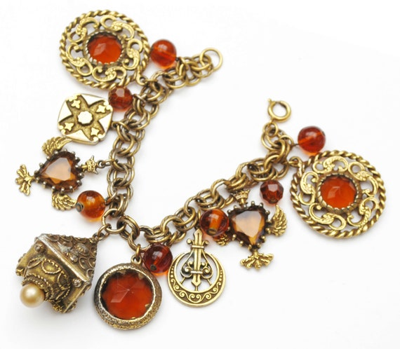 Brown Amber  glass Charm Bracelet - Huge Etruscan  -Gold plated  -  Fob Charms  - cha cha bangle