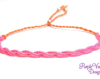 Peach Dainty Twisted Bracelet, Delicate Beaded Bracelet, Adjustable Minimalist Friendship Bracelet with Bright Neon Pink Seed Beads
