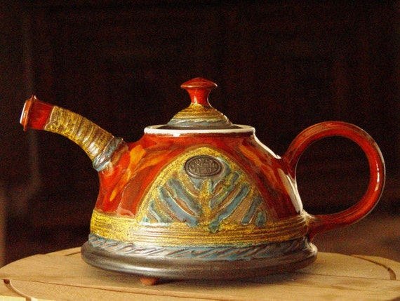Pottery Wedding Gifts: Handmade Pottery Teapot Rustic Wedding Gift Ceramic Teapot