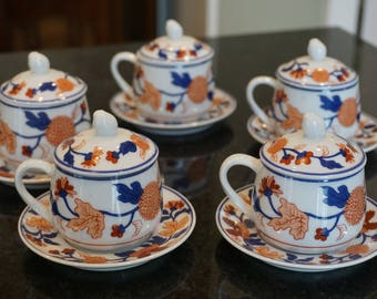 Set of 5 Vintage  Horchow Collection Imari Pots de Creme/ Horchow Old Imari/ Elegant Tableware/ Chinoiseri