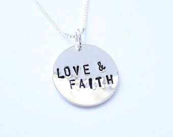Minimalist hand stamped LOVE and FAITH sterling silver prndant and chain