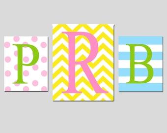Kids Wall Art - Chevron Stripe Monogram Initial Trio - Set of Three Nursery Art Prints - 8x10 and 11x14 - CHOOSE YOUR COLORS