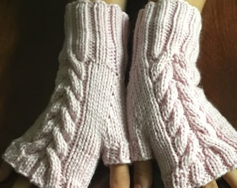 Hand knit fingerless gloves, pink wool fingerless gloves, light pink fingerless mitts, hand knit gift, ready to ship.