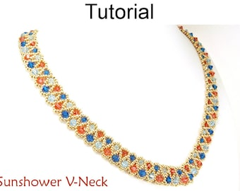 Beaded Necklace Pattern - Jewelry Making Crystal Necklace Tutorial - Beadweaving - PDF - Simple Bead Patterns - Sunshower V-Neck #11707