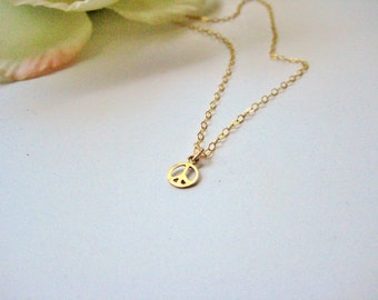 Tiny Gold filled Peace charm necklace, layering, boho, gift, Love,