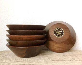 Mid Century Walnut Salad Bowls-Set of 6