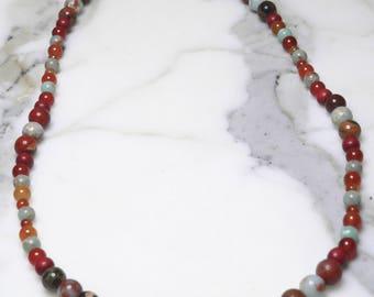 Semi-Precious Hand Strung Mint Blue Imperial Jasper, Poppy Jasper, Wood beads, Carnelian, Red Orange Agate, Orange Agate Beaded Necklace