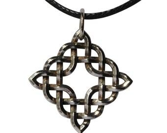 Sterling Silver Diamond-shaped Celtic Knot Pendant