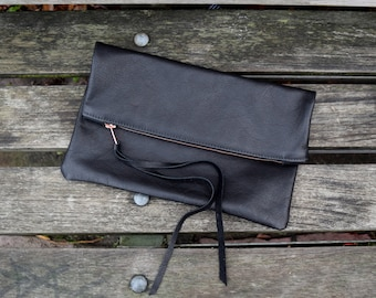 XL Leather Fold Over Clutch
