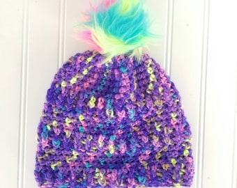Crochet Childs Hat - Crochet Pom Pom Hat - Crochet Winter Hat - Multi Color Hat - Child Beanie Hat -Child Slouchy Hat - Fur Pom Hat - RTS