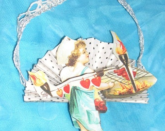 Victorian Style Chariot Cupid Valentine's Day Mini Hanging Decoration