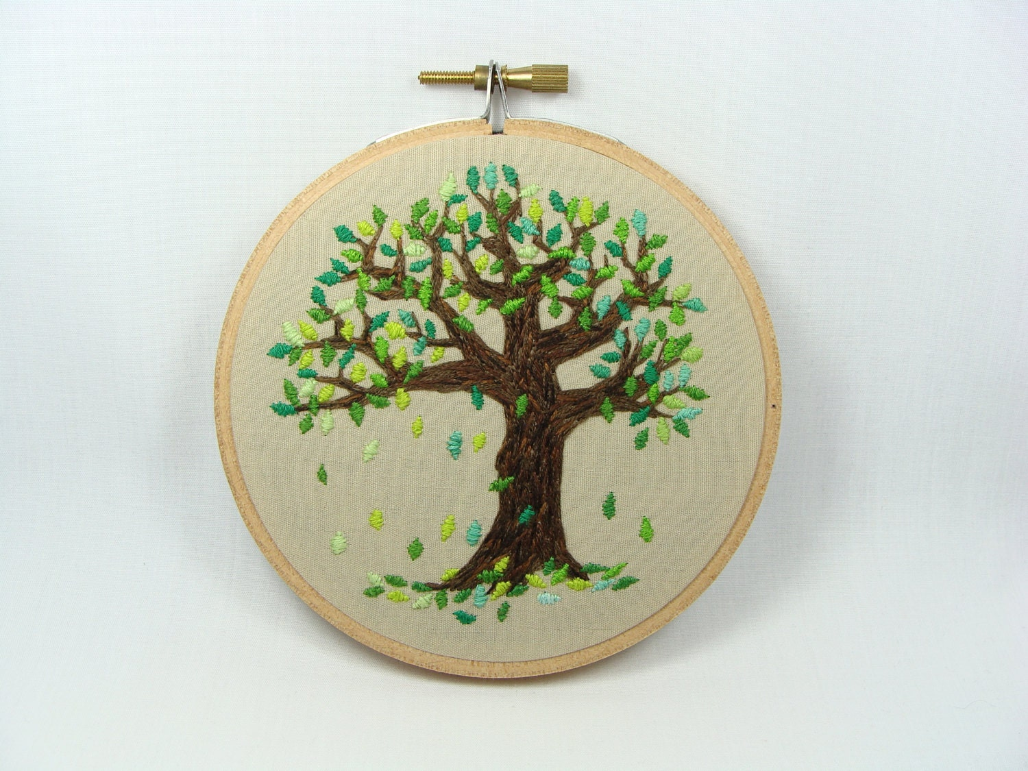 Hand Embroidered Falling Leaves Wall Hanging 4 Inch Hoop