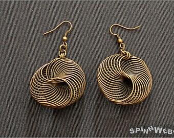 Steampunk Airship Pirates Earrings -  wire rondelle, bronze, metal, handmade