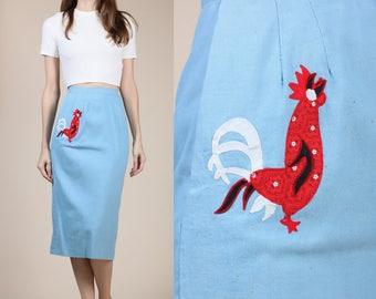 60s Rooster Pencil Skirt - XS | Vintage Blue Knee Length High Waist Pocket Skirt Costume Grade