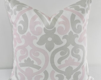 Bella Pink  Grey & White  Pillow cover. Alex Print. Throw pillow cover. Cotton.Sham Pillow case. Select your size.