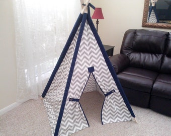 Chevron Teepee with Solid Sleeves 3 Foot Base Size Small Tent play fort Made to Order Gray Chevron with Navy Sleeves