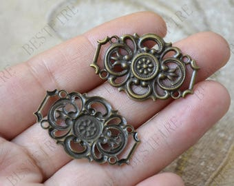 10pcs 21*31mm Antiqued Bronze Brass Filigree Connector,Jewelry Connectors Setting,Connector Finding,Flower Findings,filigree findings