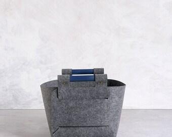 Large Storage Basket, Felt Storage Bin, Gray Storage Box, Scandinavian  Modern Home Decor