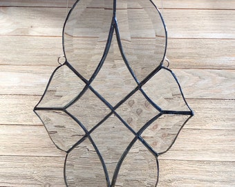 "Bevel Cluster Window Hanging, Bevel Cluster Stained Glass Sun-catcher, Hand Crafted, 17.5"" X 13.5 "" Made in the USA"