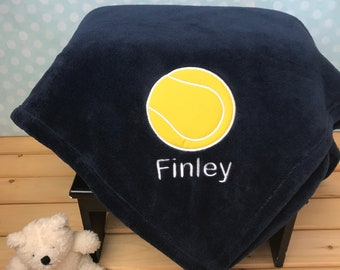 Tennis Blanket, Personalized Applique Blanket, Plush Throw, Embroidered With Name,