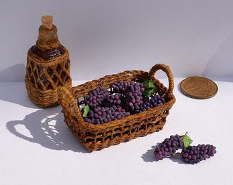 Tiny miniature grapes in 12th scale for dollhouse.Doll's miniature, miniature food, grapes, wine and wicker accessories.