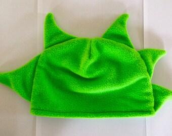 Children's Dinosaur Hat; child's dress up; costumes; kids hat; green; fleece beanie; handmade