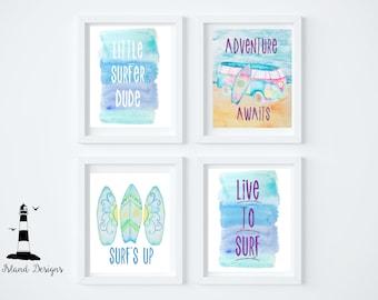 Set of 4 Baby Surfer Prints, Downloadable Surfer Nursery Print, Surfing Baby, Surf Prints, Surfing Decor, Surfer Printable, Little Boy Surf