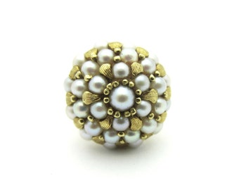 Vintage Domed Pearl Cluster Ring 18k Yellow Gold Sz 7 Dome Ring