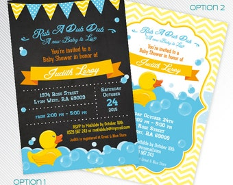Blue rubber duck baby shower invitation