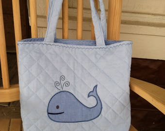 Blue Quilted Diaper Bag with Whale Appliqué Personalized Monogram