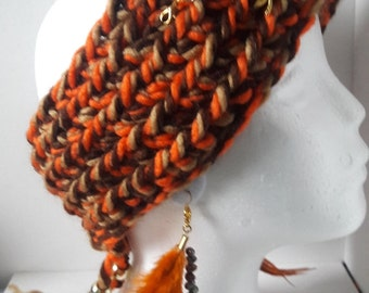 Crochet winter warm headband in brown orange  Boho style with gold chain and charms