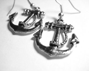 Silver Anchor Earrings - Sterling Silver Anchor Jewelry - Navy Wife Jewelry - Proud Navy Girlfriend Nautical Gift