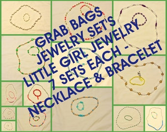 Girl's Jewelry .. Necklace w/ Matching Bracelet.  Grab bag - 7 sets each ... Jewelry Sets, Matching/Coordinating Necklace and Bracelet