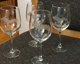 White wine glasses etched